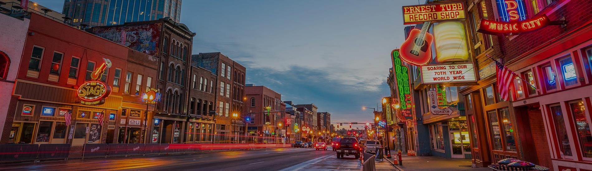Nashville, Tennessee at dusk