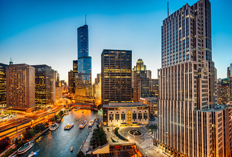 Skyline view of Chicago, Illinois