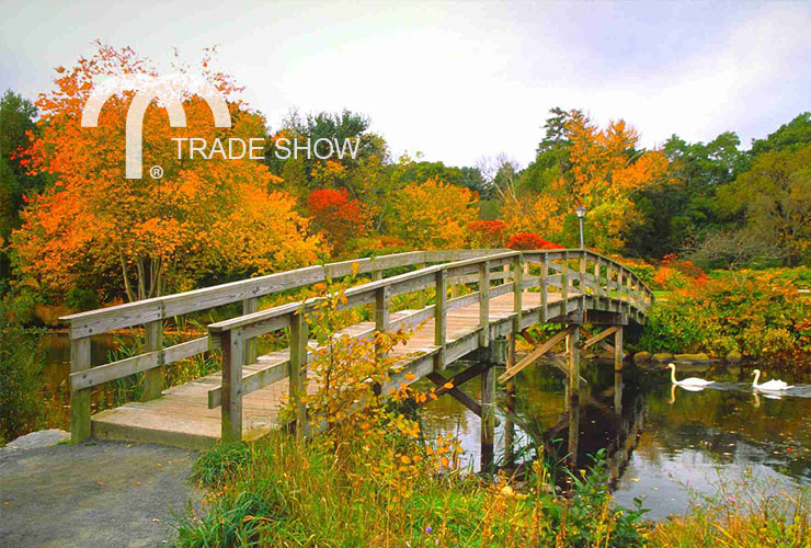 Wooden bridge over lake in Sturbridge, MA