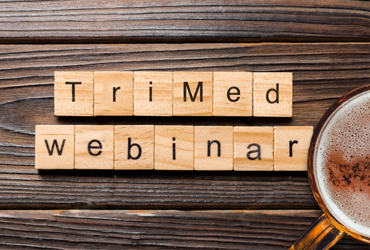 """TriMed Webinar"" on wooden blocks"