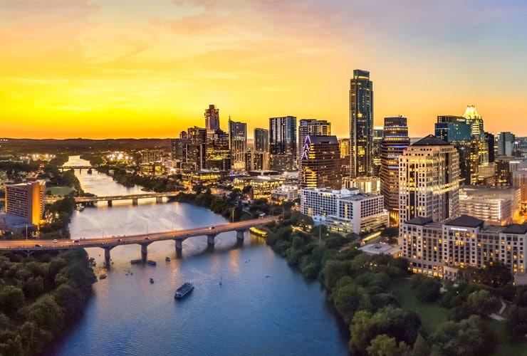 City skyline of Austin, TX at dusk