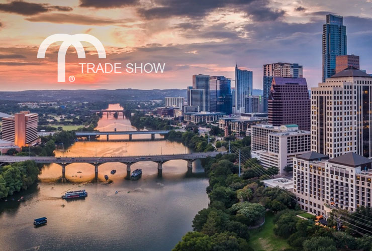 Aerial view of Austin, TX at sunset