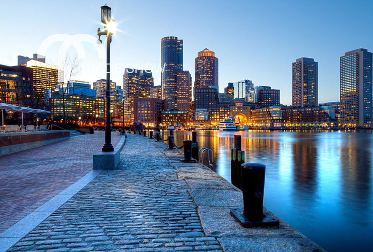 View of the Boston, MA city skyline from the harbor
