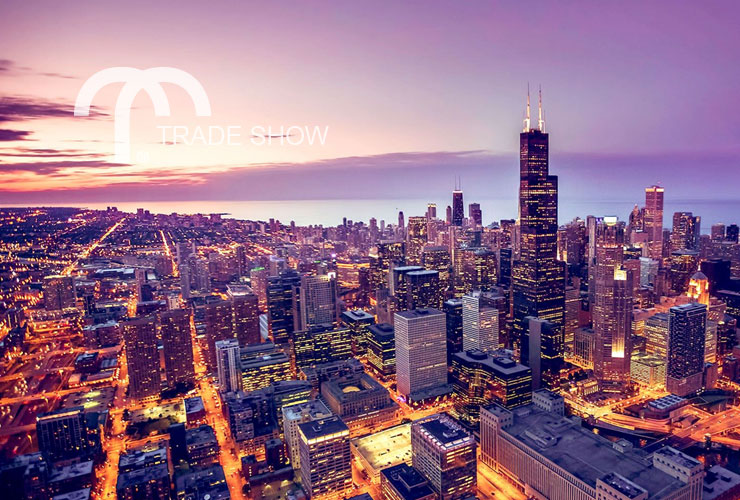 Aerial view of Chicago, IL at sunset