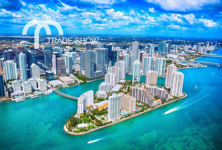 Aerial view of downtown Miami, FL