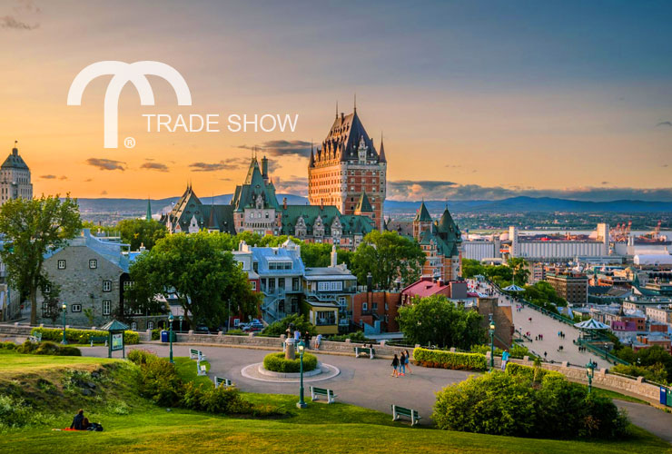 View of the Quebec, Canada city skyline at sunset