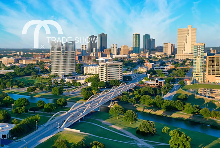 City skyline of Fort Worth, Texas just before sunset